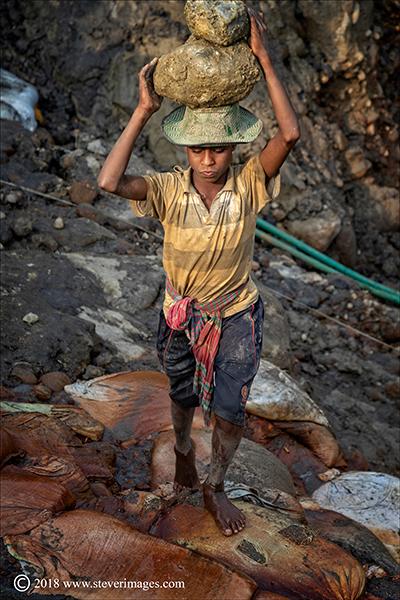 Stone quarry, stone worker, Bangladesh, photo