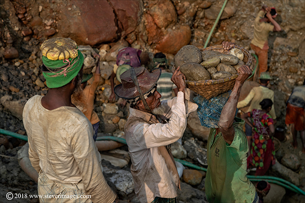 Stone quarry, stone workers, Bangladesh, photo