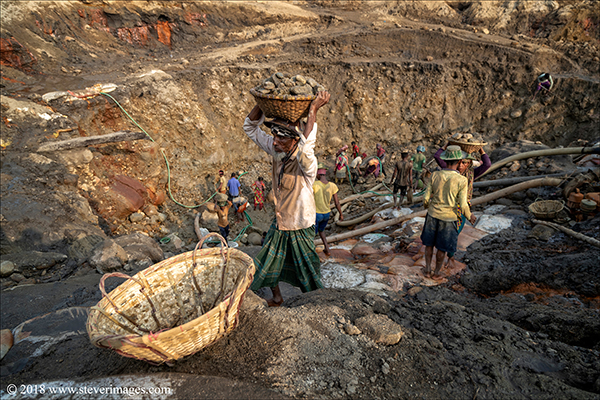 Stone quarry, stone workers, Bangladesh, photo