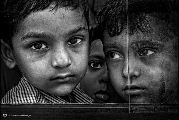 Portrait, school children, black and white, India, photo