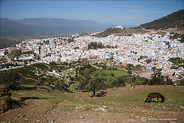 A view ofChefchouanlooking downfrom the site of the old monastry.