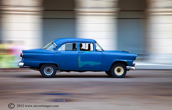 Car, Cuba, Image of speeding car in Havana
