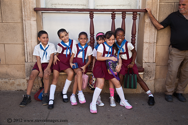Schoolgirls, Trindad, Cuba, Image of schoolgirls in Trindad