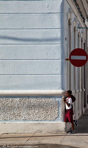 school boy,waiting, Trinidad, Cuba, photo
