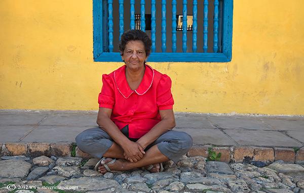 Sitting down, Trinidad, Cuba, Image of person sitting on ground in Trinidad, Cuba.