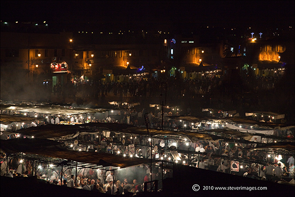 Another night scene of the famous Djemaa-el-Fna market in Marrakech.