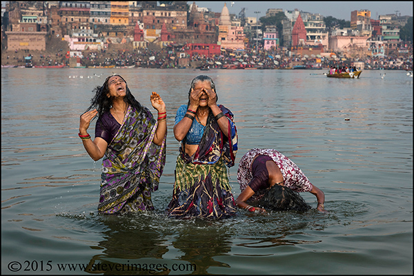 Indian women, bathing, Ganges, Varanasi India , photo