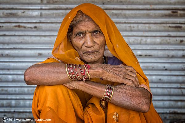 Portrait, elderly Indian woman, Orange, photo