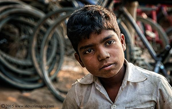 Boy, backstreets, Varanasi, India, photo