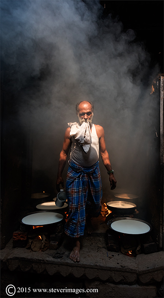 milk furnace , back streets of Varanasi, India, photo