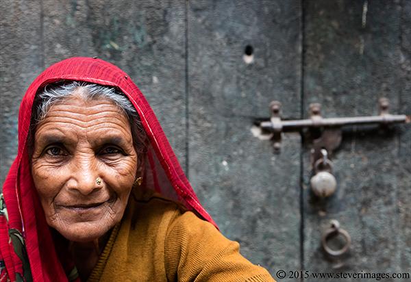 Portrait of elderly Indian lady, photo