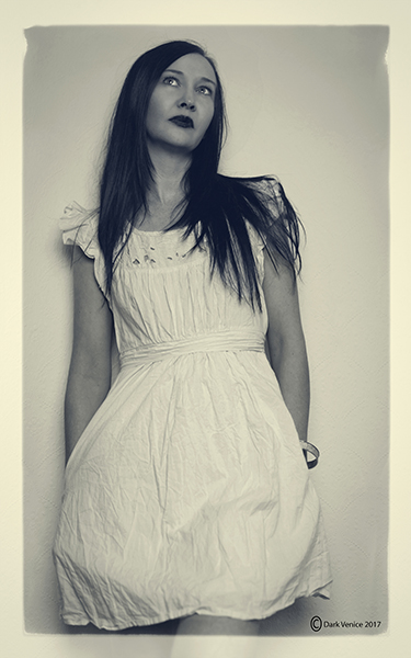 Indoor portrait, female model indoors, white dress., photo