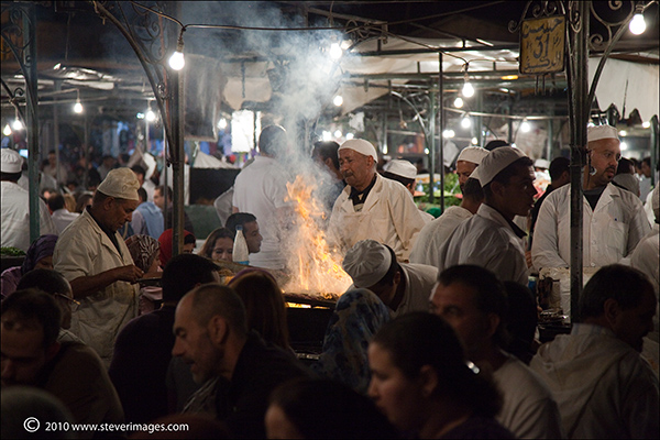 At night Djemaa-el-Fnabecomes alivewith food andcooking,which featuredat many stalls in the square...