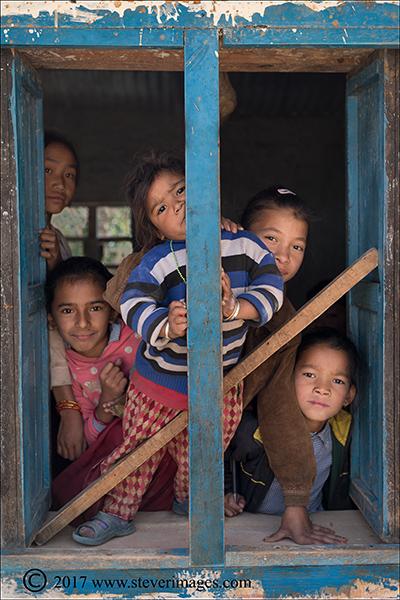 Portrait of children in classroom in Nepal