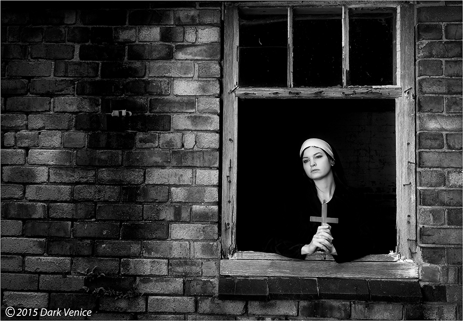 Nuns, Black and white, abandoned, cross, contemplation  , photo