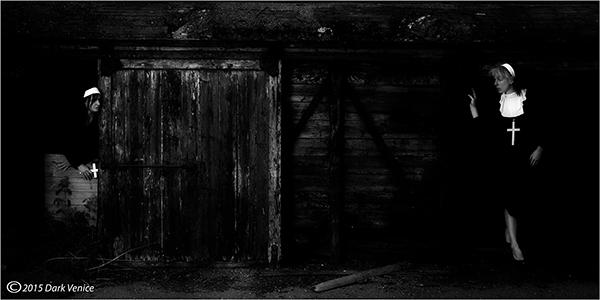 Nuns, Crosses, abandoned farm, photo