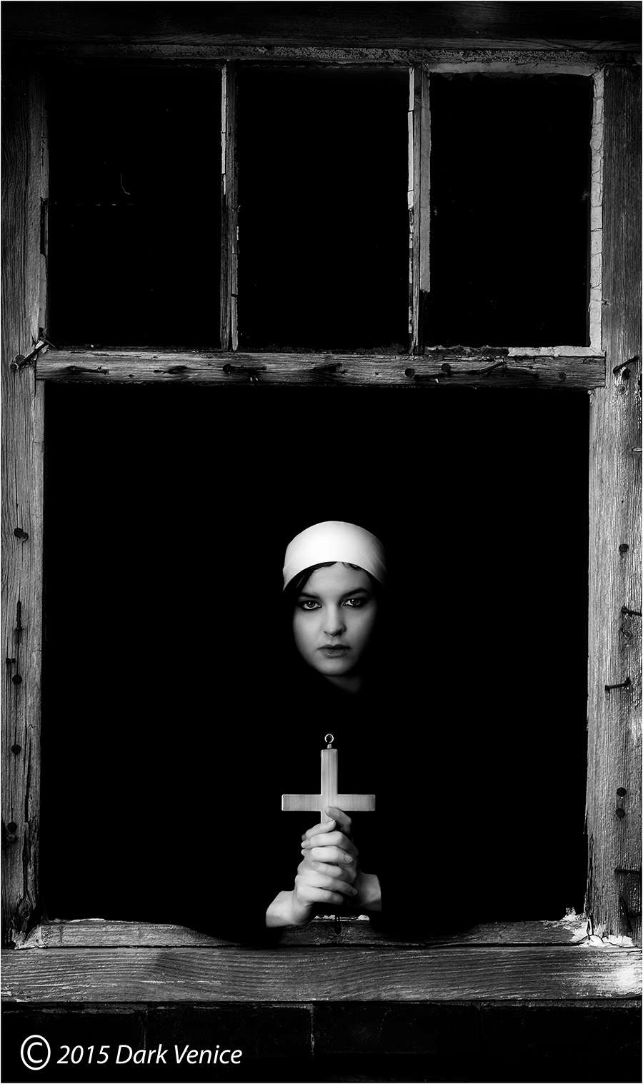 Nun, cross, abandoned farm, photo