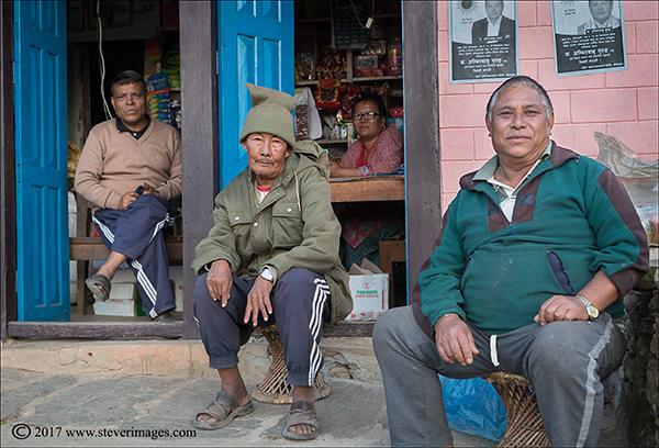 shop in Nepal, portrait of 4 people in Nepal, photo