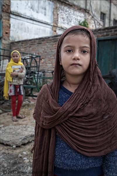 Outdoor portrait of two children in Nepal
