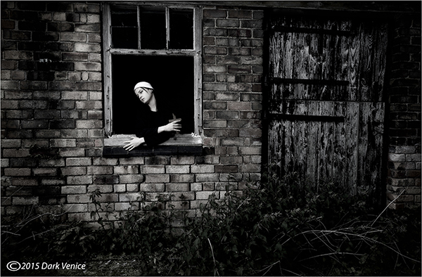 nun, cross, abandoned farm, photo