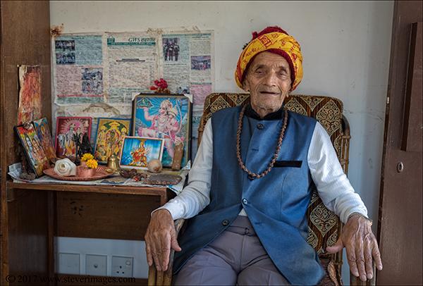 Indoor Portrait of elderly man in care home in Nepal.