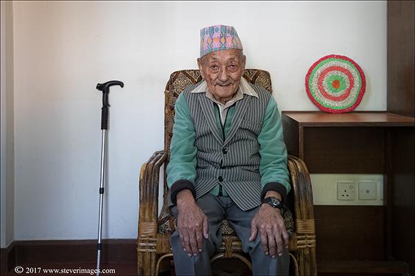 Portrait, elderly man in rest home Nepal