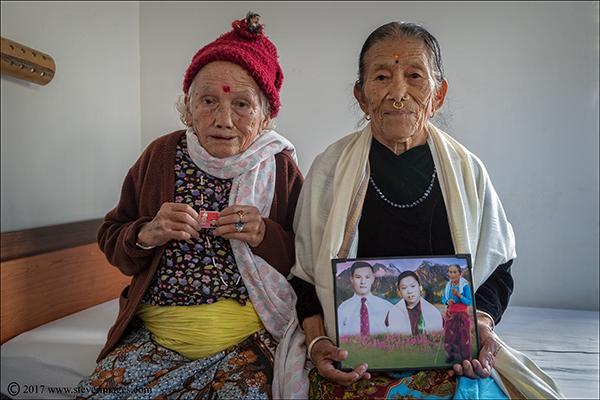 Portrait, elderly women in rest home Nepal