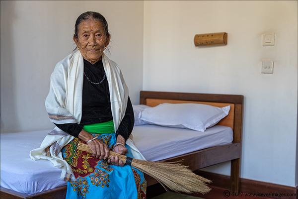 Portrait, elderly woman in rest home Nepal