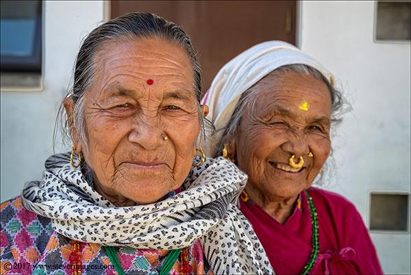 Portrait of two elderly women in Nepal
