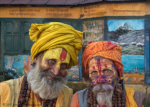 Portrait of two Hindu priests at the burning ghats Nepal.
