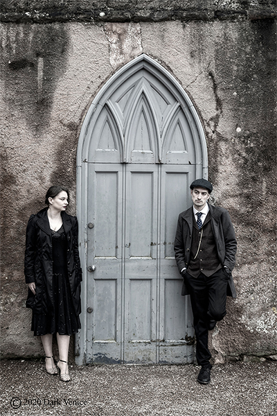 Male and female colour portrait, Abbey ruins Torquay, Pale Blue door, Peaky Blinders. , photo