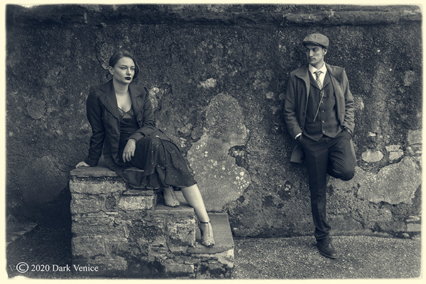 Peaky Blinders, Abbey ruins Torquay, Male and female portrait in mono., photo