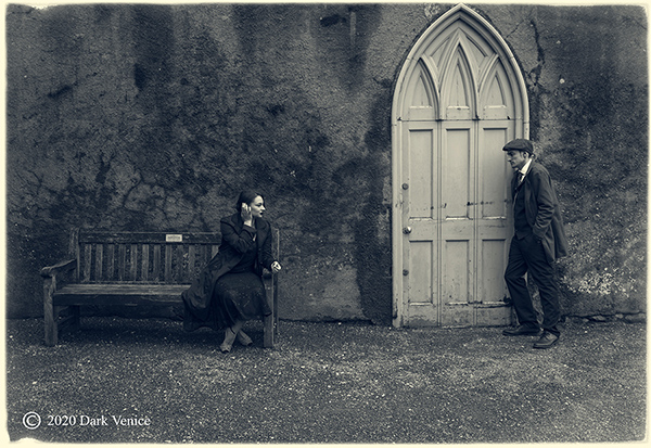 Black and white, male and female portrait, Peaky blinders, Abbey ruins Torquay,, photo