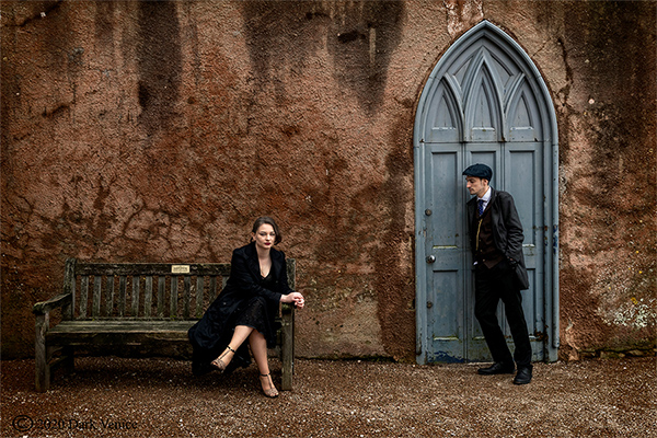 Colour male and female portrait, Peaky Blinders, Abbey ruins Torquay,, photo