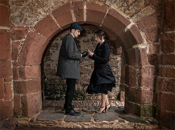 Colour photo of male and female, Abbey ruins Torquay, Peaky Blinders., photo