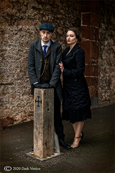 Male and female portrait, Abbey ruins Torquay, Peaky Blinders, photo