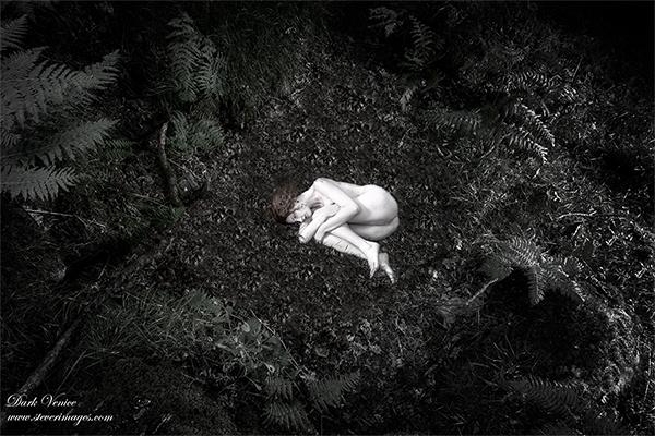 Nude, woodland, Dartmoor, female model, fetal position, outdoors , photo