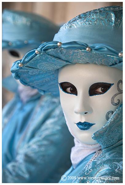 Venice carnival, twins in blue, Venice, carnival, blue, twins