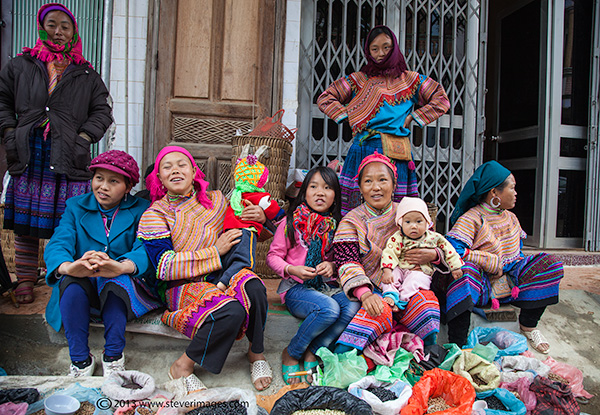 people at Bac Ha market North Vietnam, photo