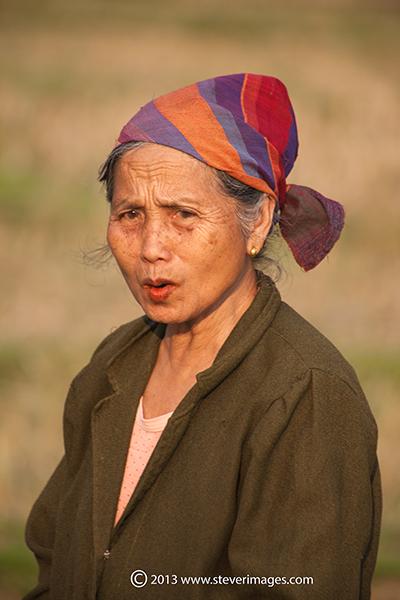 Lady in fields, Mai Chau valley, North Vietnam, photo